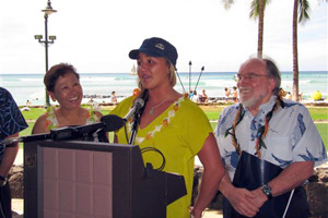 Carissa Moore speaks at the announcement of surfing as a high school sport in Hawaii.