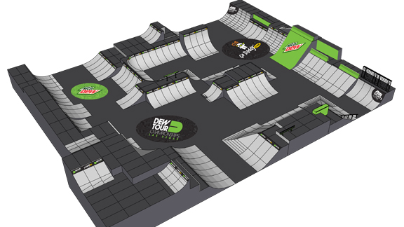 Overall design of the BMX Park course for the Dew Tour Championships in Las Vegas this upcoming weekend.