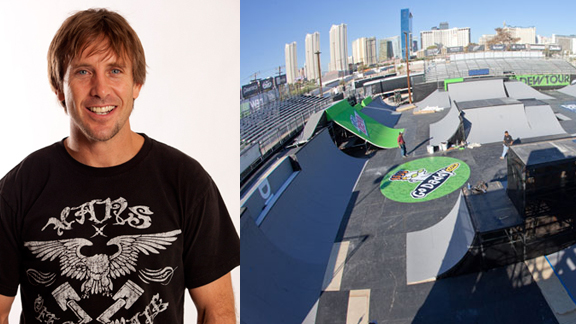 Dennis McCoy (left) and the Dew Tour Championships BMX Park course he designed for this upcoming weekend's contest in Vegas.
