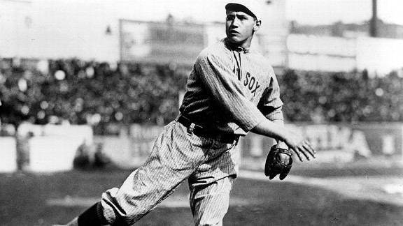 Red Sox pitcher 'Smoky' Joe Wood, warming up before Game 1 of the 1912 World Series, was only 22 at the time, but he never won more than 15 games in a season after 1912.