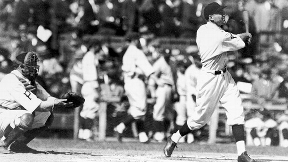Pirates third baseman Pie Traynor hits during Game 1 of the 1925 World Series.