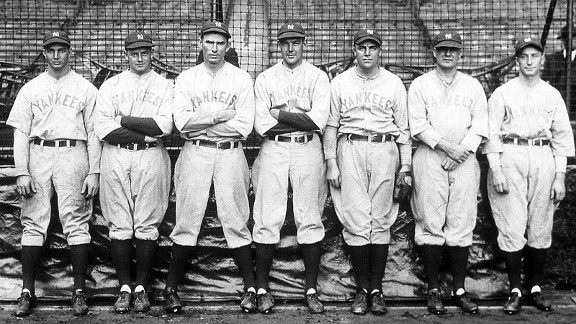 The Yankees' pitching staff -- Henry Johnson, left, Waite Hoyt, Tom Zachary, George Pipgras, Rosy Ryan, Fred Heimac and Miles Thomas  -- poses before Game 1 of the 1928 World Series.