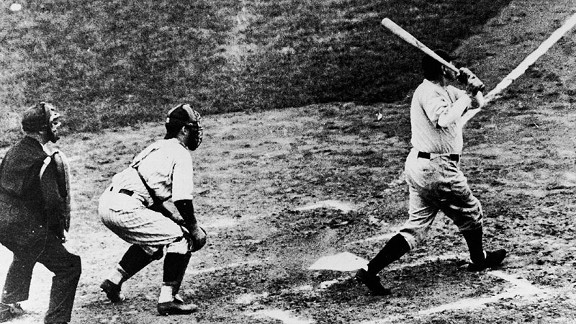 Babe Ruth swats one of his two home runs in Game 3 of the 1932 World Series. It's unknown if this is the alleged 'Called Shot' home run.