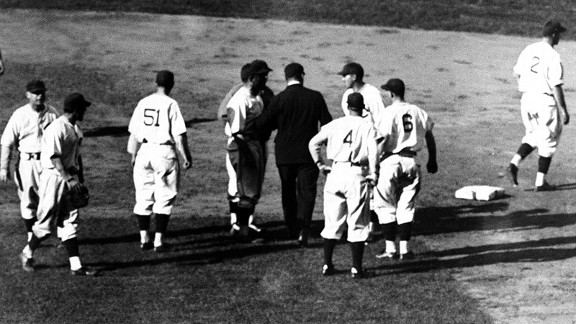 The Cubs protest after Phil Cavarretta was called out on an attempted steal during Game 3 of the 1935 World Series.