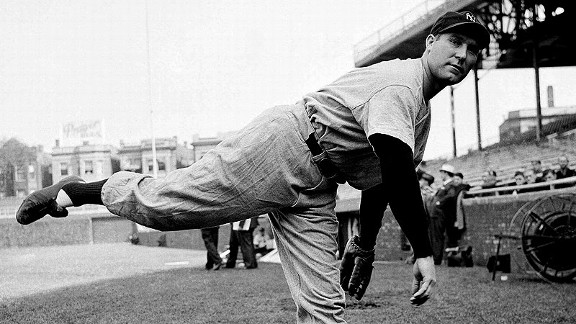 Yankees pitcher Charles 'Red' Ruffing warms up before Game 1 of the 1938 World Series.