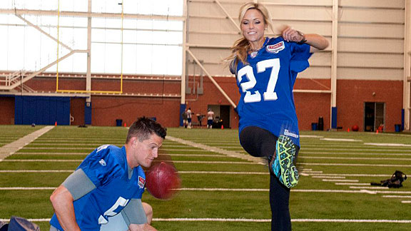 Earlier this month, Finch's marathon training took her to New York Giants practice in East Rutherford, N.J.