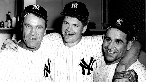 Hank Bauer, left, Bob Turley and Yogi Berra celebrate after the Yankees won Game 7 of the 1958 World Series.
