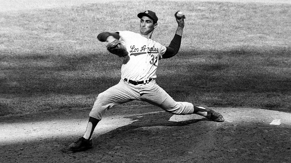 Dodgers left-hander Sandy Koufax pitches against the Yankees in Game 1 of the 1963 World Series.