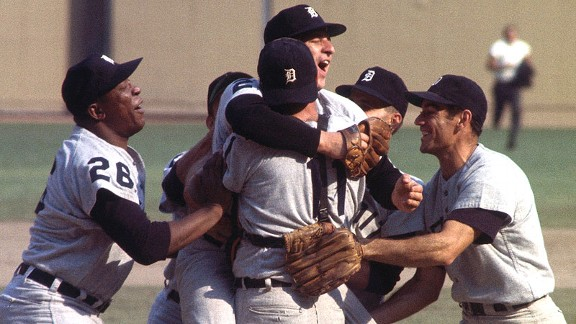 The Tigers mob pitcher Mickey Lolich after winning Game 7 of the 1968 World Series.