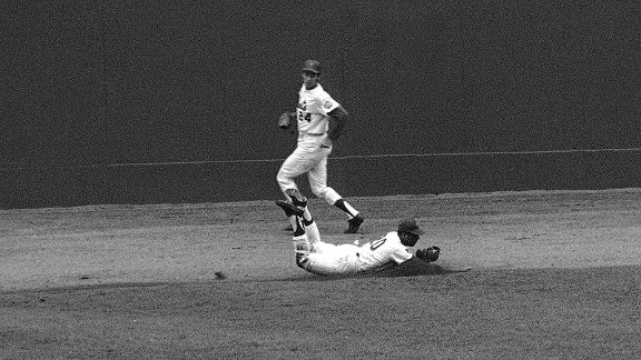 Tommie Agee, making a run-saving catch in Game 3 of the 1969 World Series