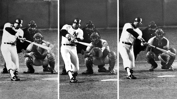 Reggie Jackson hits three home runs on three consecutive pitches in the 1977 World Series