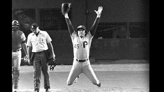 Phillies relief pitcher Tug McGraw, leaping in victory, got the final out of the 1980 World Series.