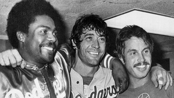 Co-MVPs Pedro Guerrero, left, Steve Yeager and Ron Cey celebrate after the Dodgers won the 1981 World Series.