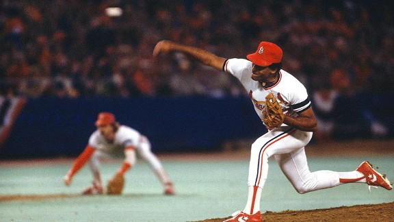 Cardinals pitcher Joaquin Andujar throws a pitch during Game 7 of the 1982 World Series.