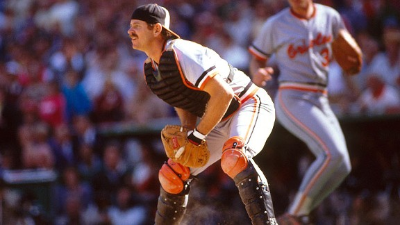 Orioles catcher Rick Dempsey watches the field for action at home against the Phillies during the 1983 World Series.