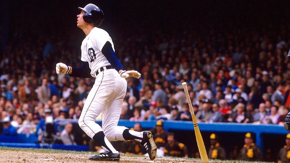 Tigers shortstop Alan Trammell follows the flight of his drive against the Padres during the 1984 World Series.