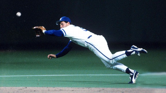 Royals third baseman George Brett fields a ball in Game 7 of the 1985 World Series.