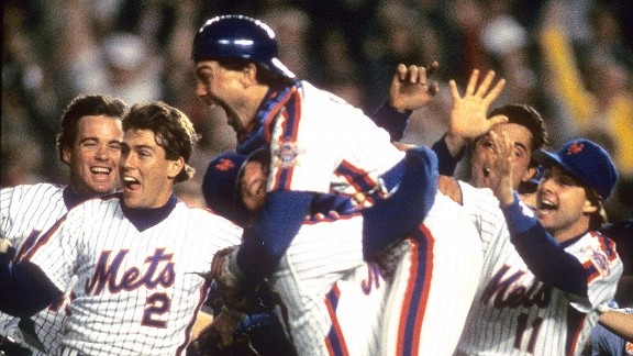 Mets catcher Gary Carter jumps into the arms of pitcher Jesse Orosco after the final out of Game 7 of the 1986 World Series.