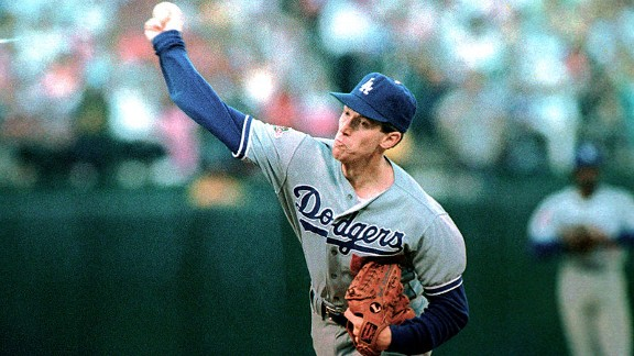 Dodgers pitcher Orel Hershiser throws during the first inning of Game 5 of the 1988 World Series. Hershiser gave up only two earned runs in 18 innings.