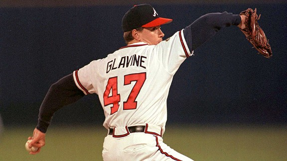 Braves pitcher Tom Glavine delivers a pitch during Game 2 of the 1995 World Series.