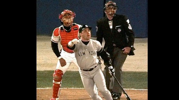 Yankees catcher Jim Leyritz watches his game-tying three-run home run in the eighth inning of Game 4 of the 1996 World Series.