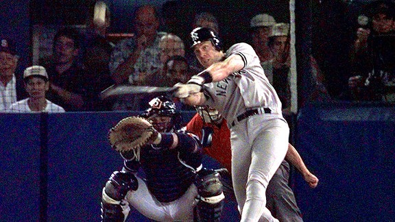 Yankees third baseman Scott Brosius hits his first of two home runs in Game 3 of the 1998 World Series.