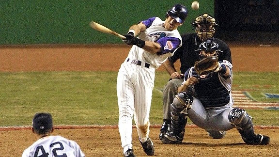 Luis Gonzalez of the Arizona Diamondbacks against Mariano Rivera of the New York Yankees in the 2001 World Series