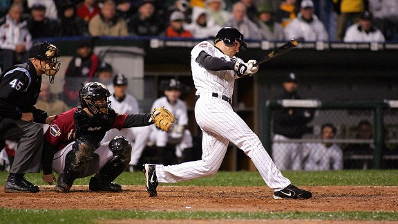 White Sox outfielder Scott Podsednik connects on a game-winning, walk-off home run in the ninth inning of Game 2 of the 2005 World Series against the Astros. It was Podsednik's only homer of the season.
