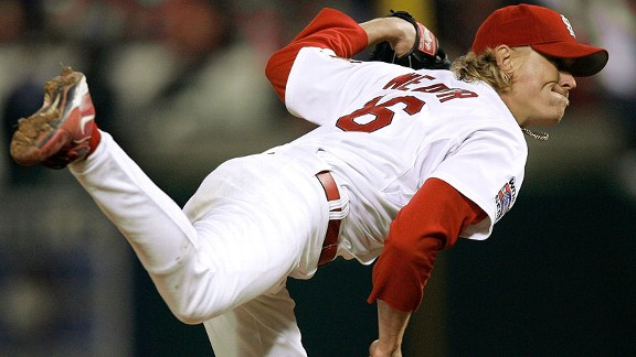 The Cardinals' Jeff Weaver pitches against the Tigers in the eighth inning of Game 5 of the 2006 World Series.