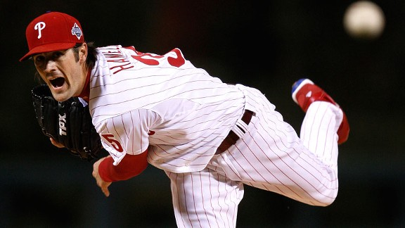 Phillies left-hande Cole Hamels pitches to the Rays during the first inning of Game 5 of the 2008 World Series.