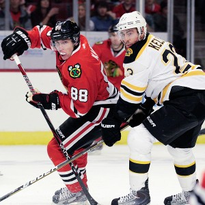 Patrick Kane scored the Hawks' second goal in Saturday's loss.