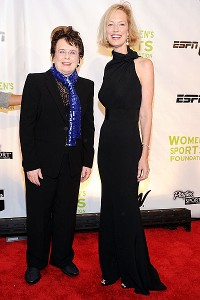 Women's tennis star and founder of the WSF Billie Jean King with the foundation's CEO Kathryn Olson at the WSF New York gala.