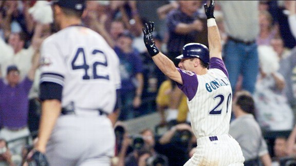 Luis Gonzalez celebrating his game-winning hit against the New York Yankees in the 2001 World Series