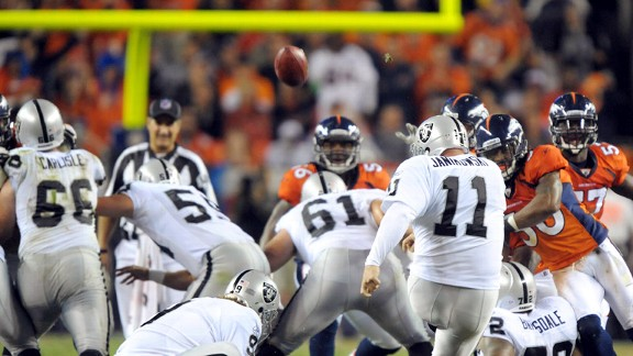 Sebastian Janikowski in 2011 tying Tom Dempsey's record for longest field goal at 63 yards