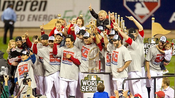 St. Louis Cardinals celebrate with trophy