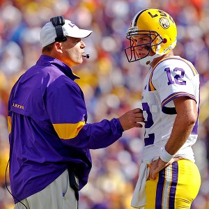 LSU's Les Miles and Jarrett Lee