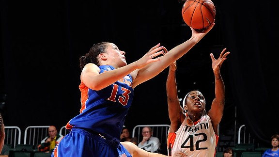 The 6-foot-4 Azania Stewart was second in the SEC in blocked shots last year and led the Gators in rebounds.