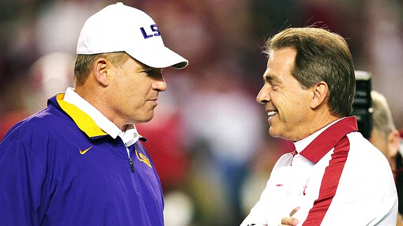 Les Miles and Nick Saban