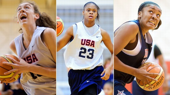 Breanna Stewart, Morgan Tuck, Moriah Jefferson