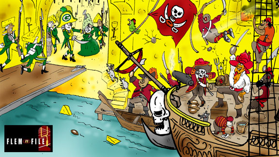 Green Bay Packers and Tampa Bay Buccaneers cartoon