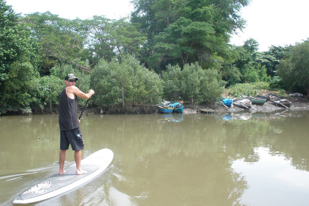 Pribram paddling during his Uluwatu Mission.