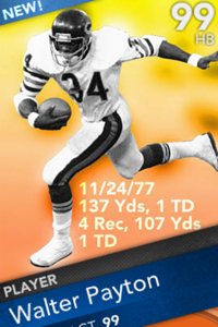 Madden ultimate team adds special thanksgiving card collection espn - Walter payton madden 15 ...