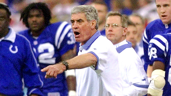 Jim Mora Sr. with the Indianapolis Colts during the 1999 AFC divisional playoff game against the Tennessee Titans