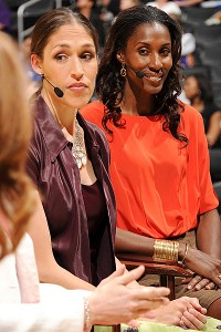 Rebecca Lobo, shown here with Lisa Leslie, is now a college basketball broadcaster for ESPN.