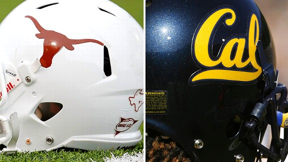 Texas Longhorns helmet, California Golden Bears helmet