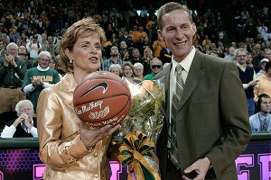 Baylor honored Kim Mulkey for her 300th career win, which she got during the preseason WNIT.