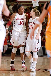 Tara VanDerveer said Nneka Ogwumike, left, played one of the best games in Maples history, but the senior credited a team win.