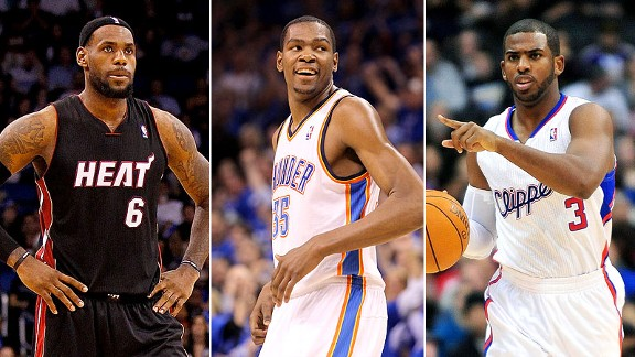 LeBron James, Kevin Durant and Chris Paul