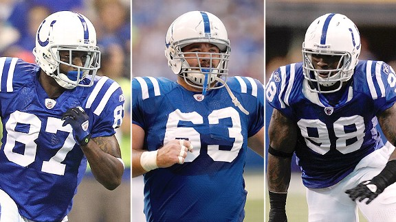Reggie Wayne, Jeff Saturday and Robert Mathis