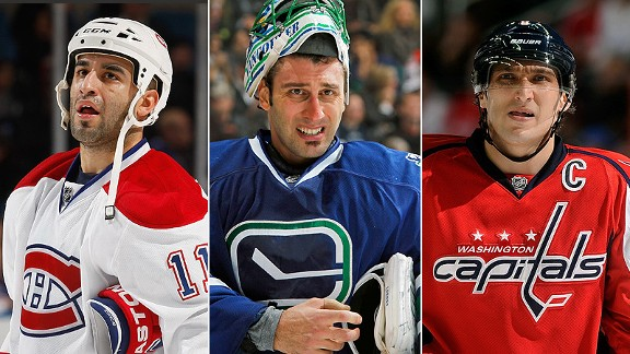 Scott Gomez, Roberto Luongo and Alex Ovechkin